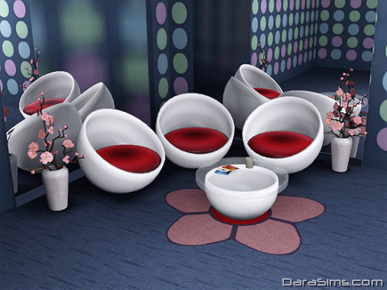 oval living set sims 3
