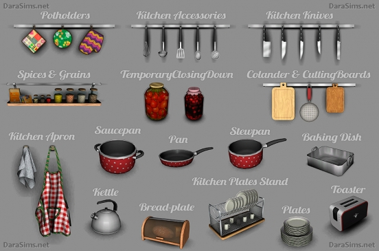 kitchen decor set sims 3 by darasims