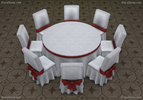 round festive dining table 6-8 seats sims 4