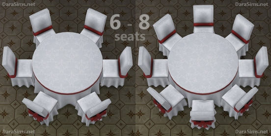 round table 8 seats sims 4