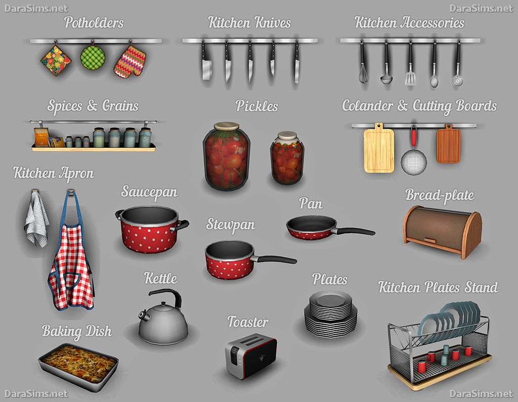 Kitchen decor set the sims 4 for Kitchen decoration games