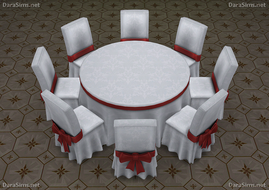 Round Festive Dining Table 6 8 Seats Sims 4 ...
